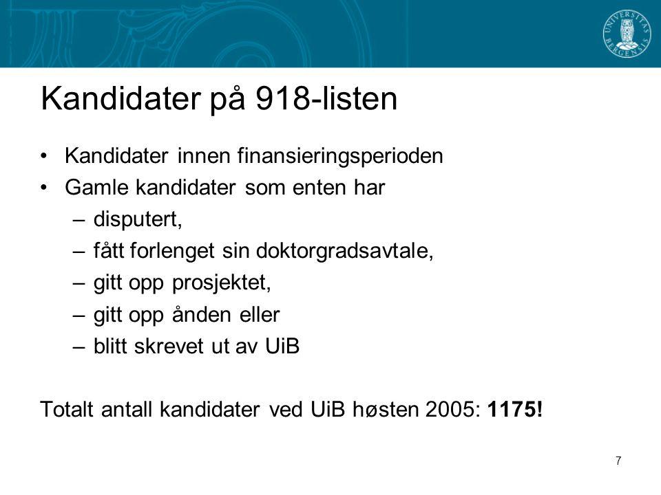 7 Kandidater på 918-listen •Kandidater innen finansieringsperioden •Gamle kandidater som enten har –disputert, –fått forlenget sin doktorgradsavtale, –gitt opp prosjektet, –gitt opp ånden eller –blitt skrevet ut av UiB Totalt antall kandidater ved UiB høsten 2005: 1175!