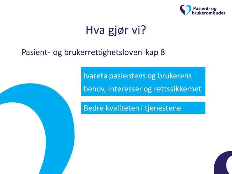 Hva gjør vi? Pasient- og brukerrettighetsloven kap 8 Ivareta pasientens og brukerens behov, interesser og rettssikkerhet Bedre kvaliteten i tjenestene