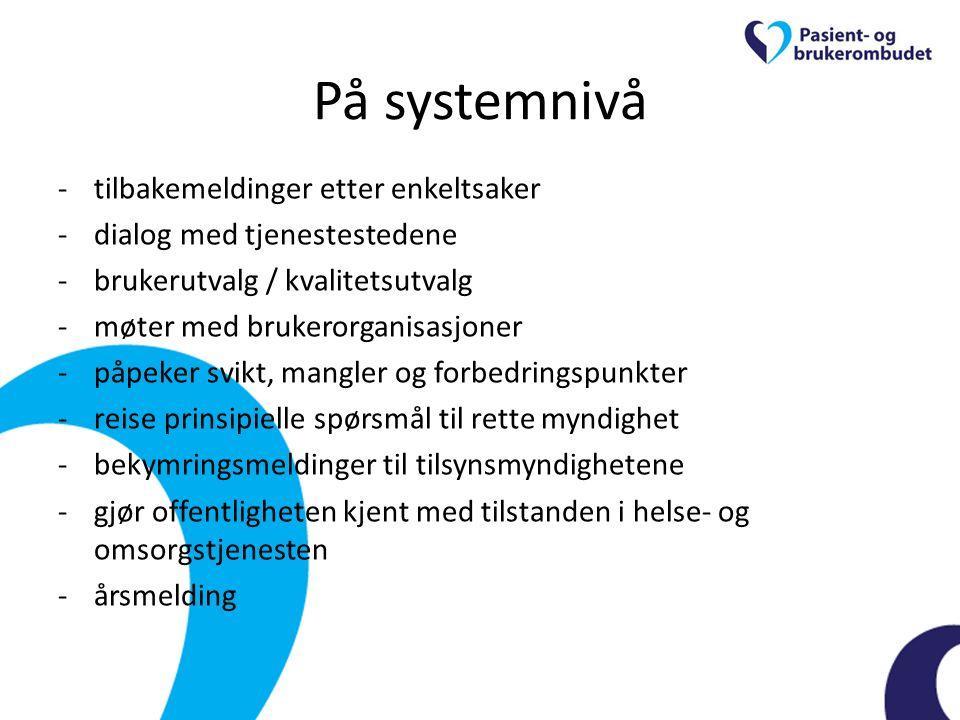 På systemnivå -tilbakemeldinger etter enkeltsaker -dialog med tjenestestedene -brukerutvalg / kvalitetsutvalg -møter med brukerorganisasjoner -påpeker