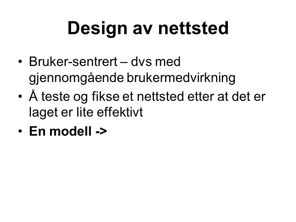 Design av nettsted •Bruker-sentrert – dvs med gjennomgående brukermedvirkning •Å teste og fikse et nettsted etter at det er laget er lite effektivt •En modell ->