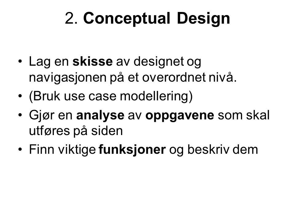 2. Conceptual Design •Lag en skisse av designet og navigasjonen på et overordnet nivå.