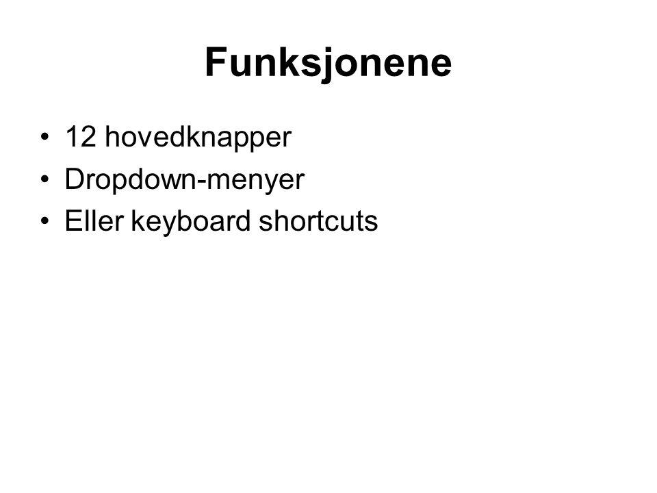 Funksjonene •12 hovedknapper •Dropdown-menyer •Eller keyboard shortcuts