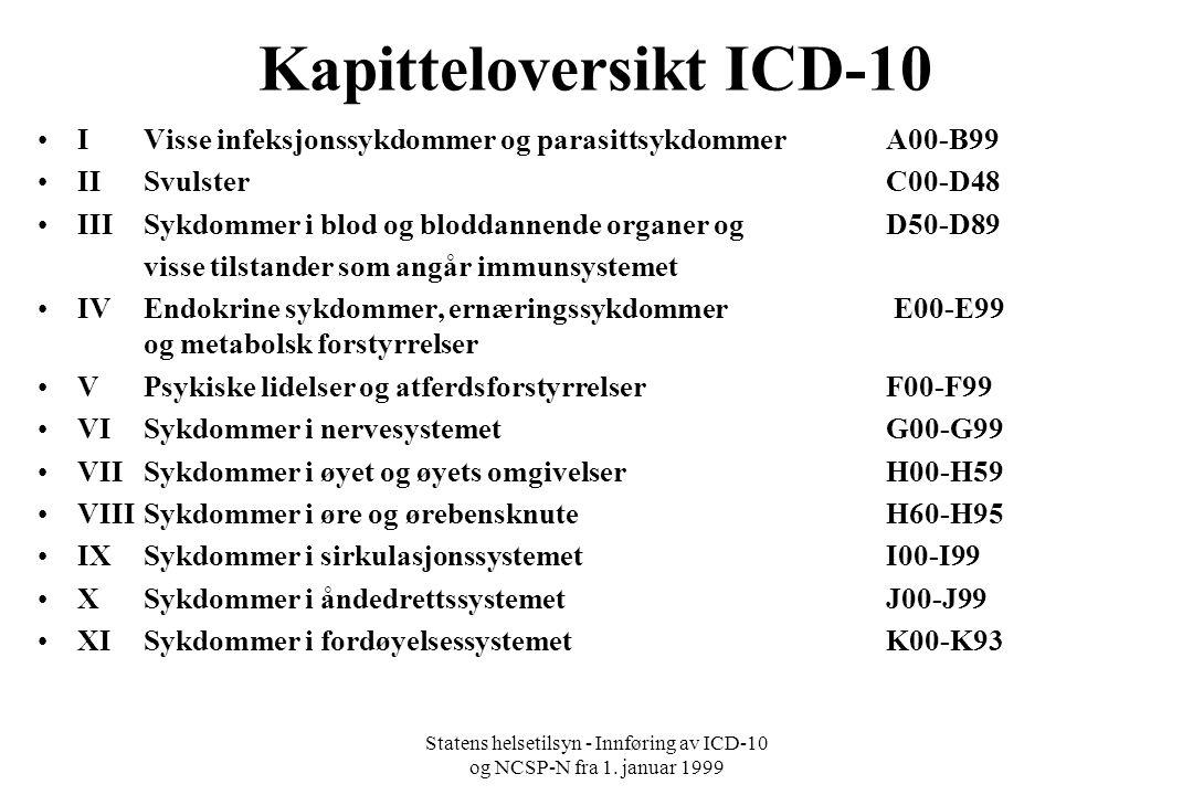 Statens helsetilsyn - Innføring av ICD-10 og NCSP-N fra 1.