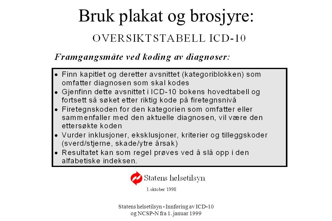 Statens helsetilsyn - Innføring av ICD-10 og NCSP-N fra 1. januar 1999 Bruk plakat og brosjyre: