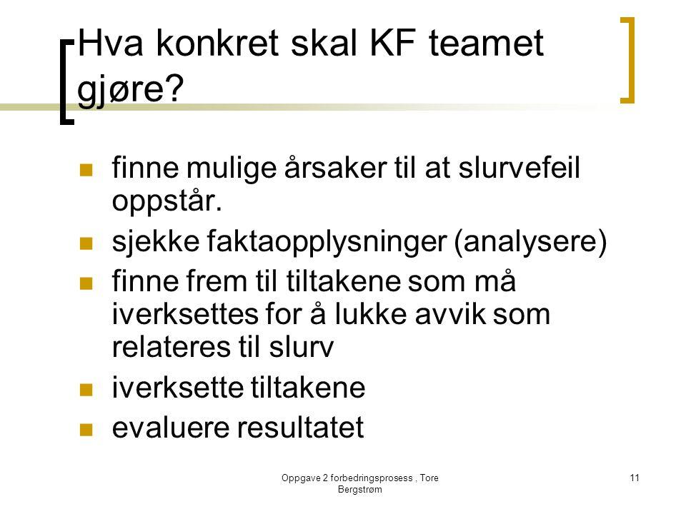 Oppgave 2 forbedringsprosess, Tore Bergstrøm 11 Hva konkret skal KF teamet gjøre?  finne mulige årsaker til at slurvefeil oppstår.  sjekke faktaoppl