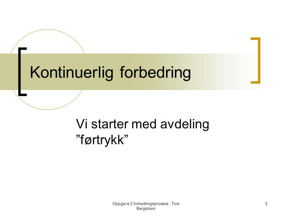 """Oppgave 2 forbedringsprosess, Tore Bergstrøm 2 Kontinuerlig forbedring Vi starter med avdeling """"førtrykk"""""""