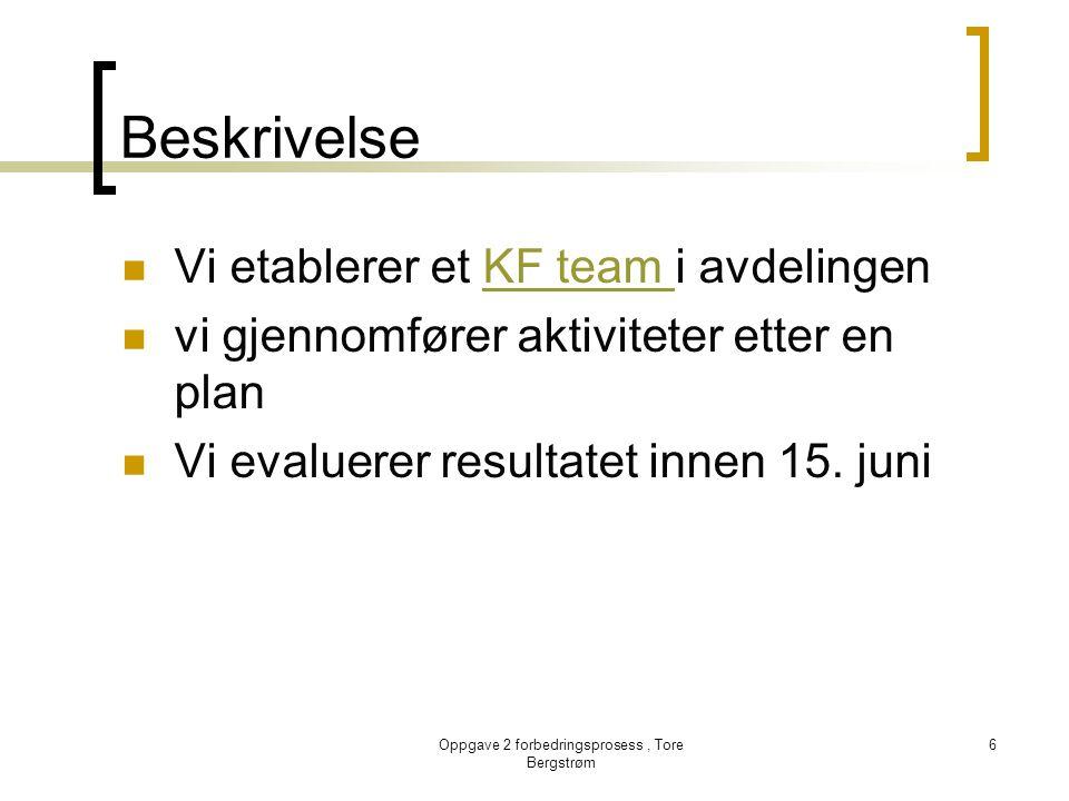 Oppgave 2 forbedringsprosess, Tore Bergstrøm 6 Beskrivelse  Vi etablerer et KF team i avdelingenKF team  vi gjennomfører aktiviteter etter en plan 