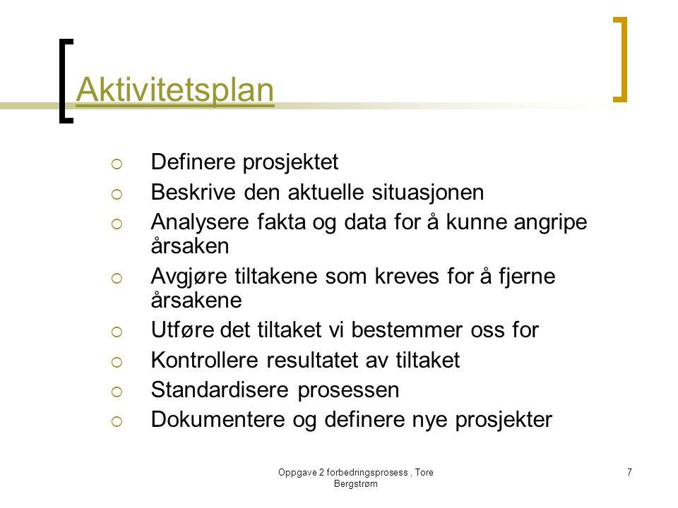 Oppgave 2 forbedringsprosess, Tore Bergstrøm 7 Aktivitetsplan  Definere prosjektet  Beskrive den aktuelle situasjonen  Analysere fakta og data for