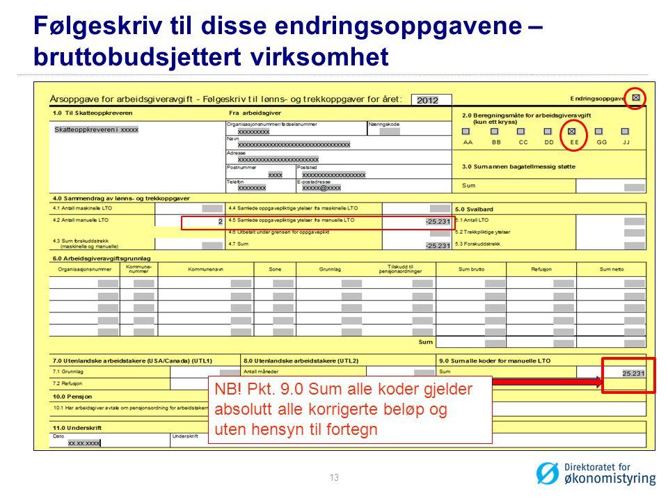 Følgeskriv til disse endringsoppgavene – bruttobudsjettert virksomhet NB.