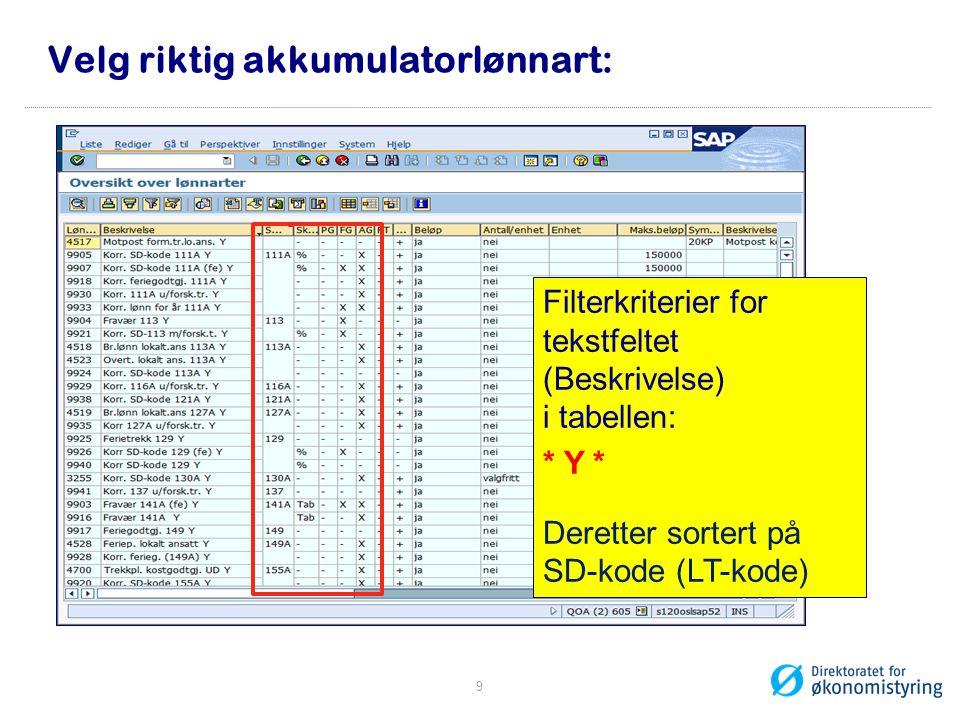 Velg riktig akkumulatorlønnart: Filterkriterier for tekstfeltet (Beskrivelse) i tabellen: * Y * Deretter sortert på SD-kode (LT-kode) 9