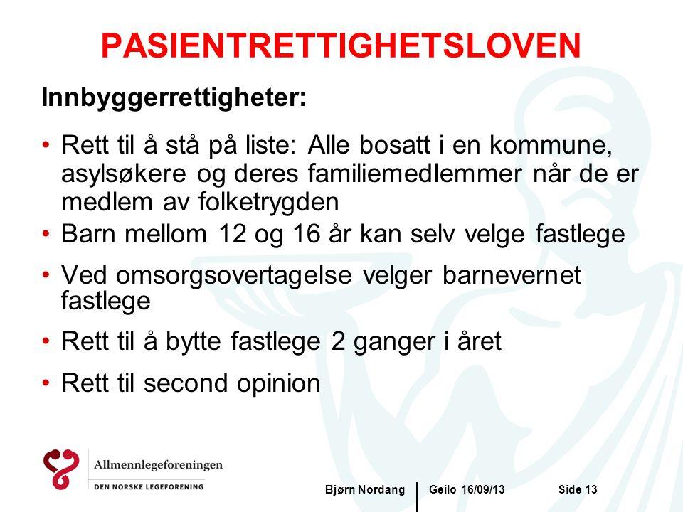 PASIENTRETTIGHETSLOVEN Geilo 16/09/13Bjørn NordangSide 13 Innbyggerrettigheter: •Rett til å stå på liste: Alle bosatt i en kommune, asylsøkere og dere