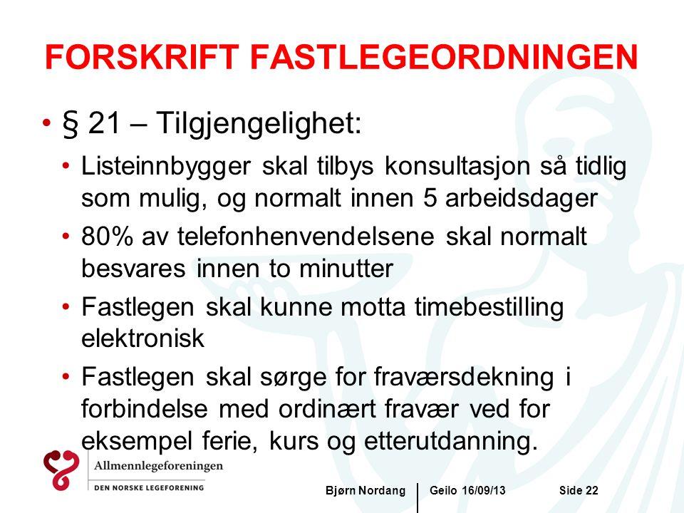 FORSKRIFT FASTLEGEORDNINGEN Geilo 16/09/13Bjørn NordangSide 22 •§ 21 – Tilgjengelighet: •Listeinnbygger skal tilbys konsultasjon så tidlig som mulig,