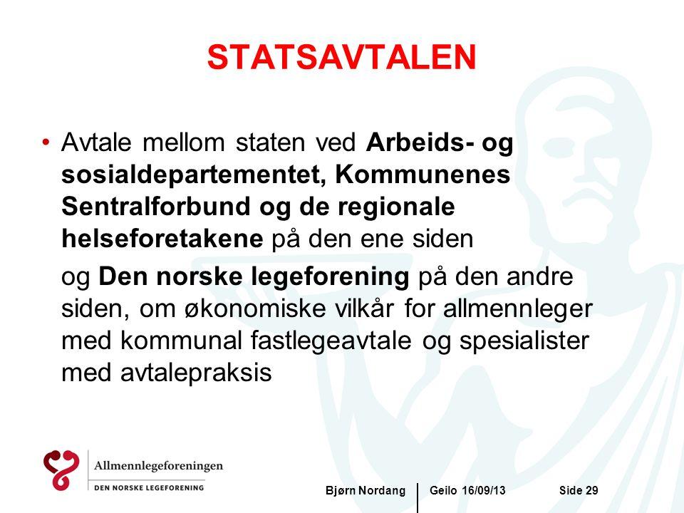 STATSAVTALEN Geilo 16/09/13Bjørn NordangSide 29 •Avtale mellom staten ved Arbeids- og sosialdepartementet, Kommunenes Sentralforbund og de regionale h