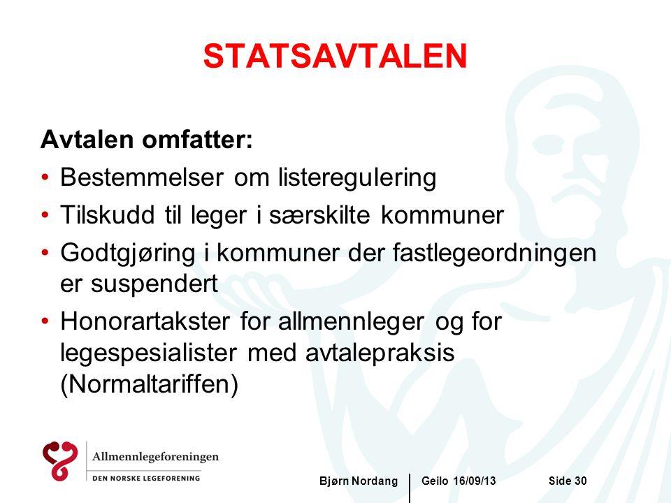 STATSAVTALEN Geilo 16/09/13Bjørn NordangSide 30 Avtalen omfatter: •Bestemmelser om listeregulering •Tilskudd til leger i særskilte kommuner •Godtgjøri