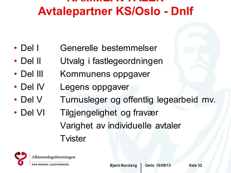 RAMMEAVTALEN Avtalepartner KS/Oslo - Dnlf Geilo 16/09/13Bjørn NordangSide 32 •Del IGenerelle bestemmelser •Del IIUtvalg i fastlegeordningen •Del IIIKo