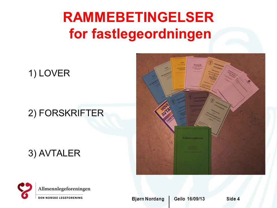 RAMMEBETINGELSER for fastlegeordningen 1) LOVER 2) FORSKRIFTER 3) AVTALER Geilo 16/09/13Bjørn NordangSide 4