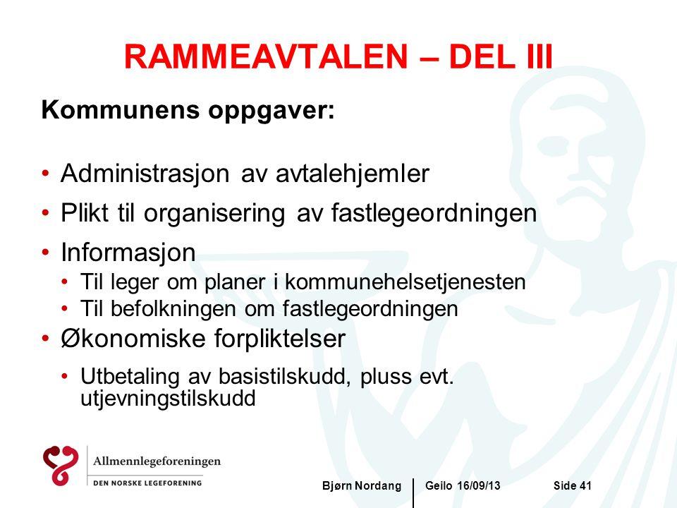 RAMMEAVTALEN – DEL III Geilo 16/09/13Bjørn NordangSide 41 Kommunens oppgaver: •Administrasjon av avtalehjemler •Plikt til organisering av fastlegeordn