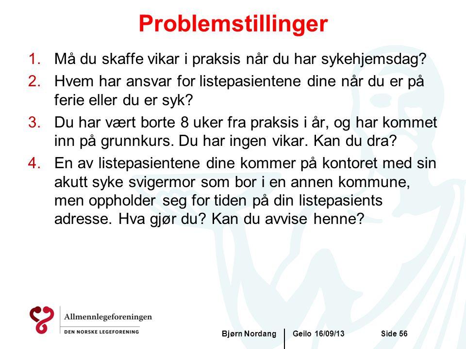 Problemstillinger Geilo 16/09/13Bjørn NordangSide 56 1.Må du skaffe vikar i praksis når du har sykehjemsdag? 2.Hvem har ansvar for listepasientene din