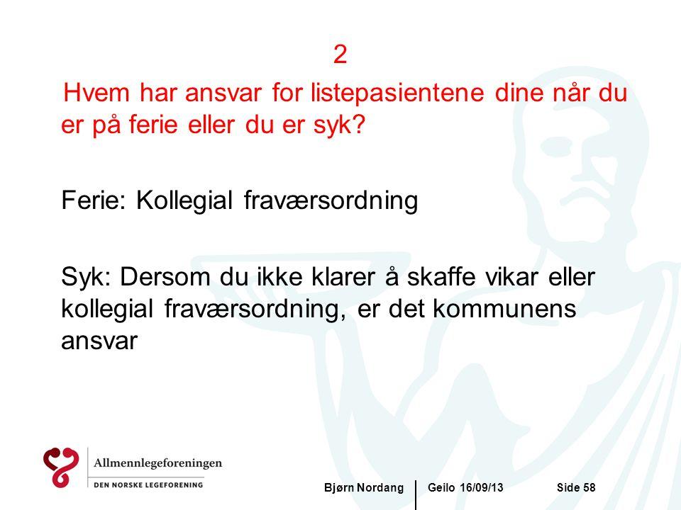 Geilo 16/09/13Bjørn NordangSide 58 2 Hvem har ansvar for listepasientene dine når du er på ferie eller du er syk? Ferie: Kollegial fraværsordning Syk: