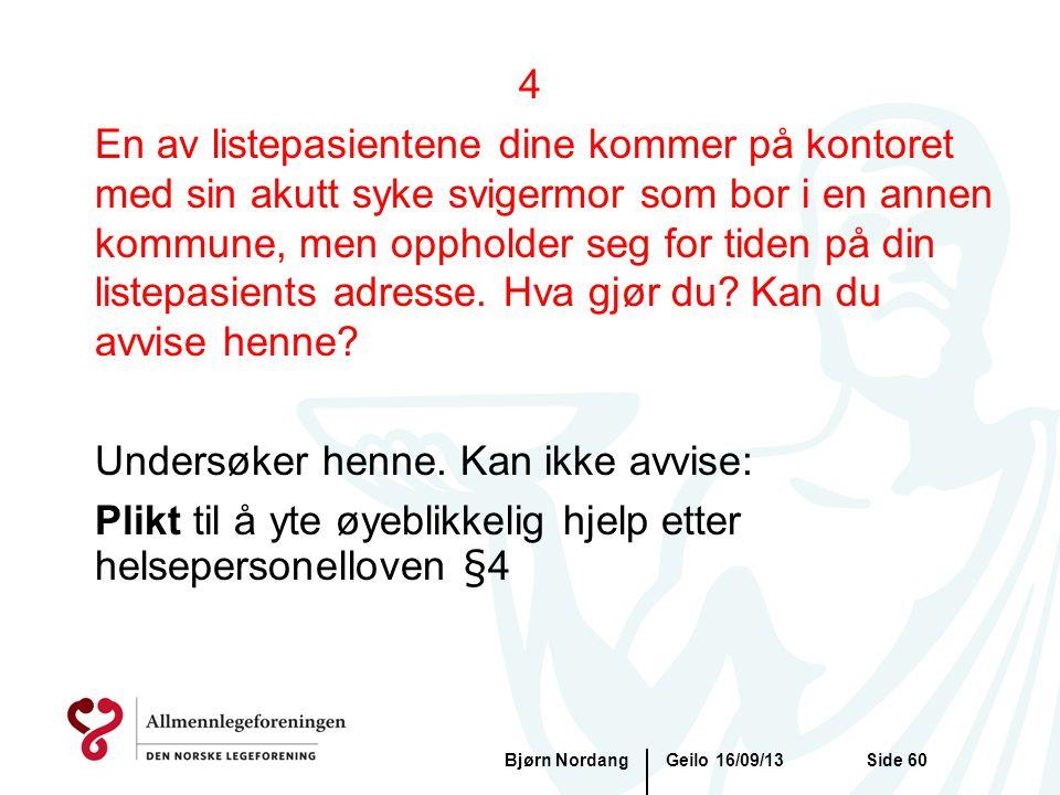 Geilo 16/09/13Bjørn NordangSide 60 4 En av listepasientene dine kommer på kontoret med sin akutt syke svigermor som bor i en annen kommune, men opphol