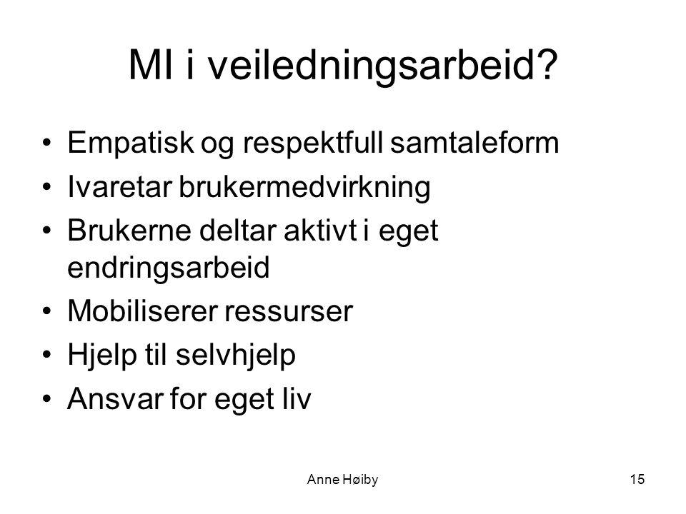 Anne Høiby MI i veiledningsarbeid.