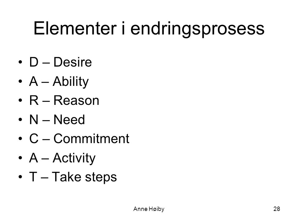 Elementer i endringsprosess •D – Desire •A – Ability •R – Reason •N – Need •C – Commitment •A – Activity •T – Take steps Anne Høiby28