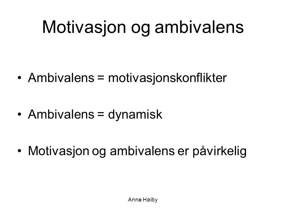 Anne Høiby Motivasjon og ambivalens •Ambivalens = motivasjonskonflikter •Ambivalens = dynamisk •Motivasjon og ambivalens er påvirkelig