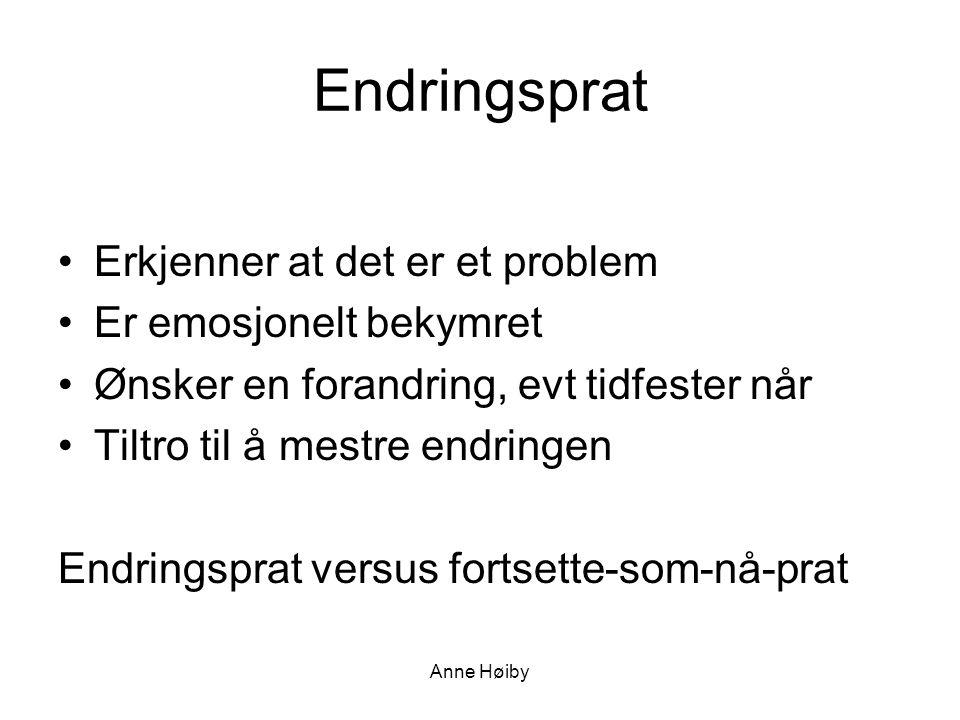 Anne Høiby Endringsprat •Erkjenner at det er et problem •Er emosjonelt bekymret •Ønsker en forandring, evt tidfester når •Tiltro til å mestre endringen Endringsprat versus fortsette-som-nå-prat