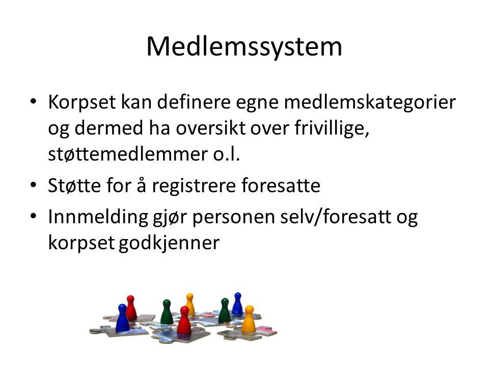 Medlemssystem • Korpset kan definere egne medlemskategorier og dermed ha oversikt over frivillige, støttemedlemmer o.l.