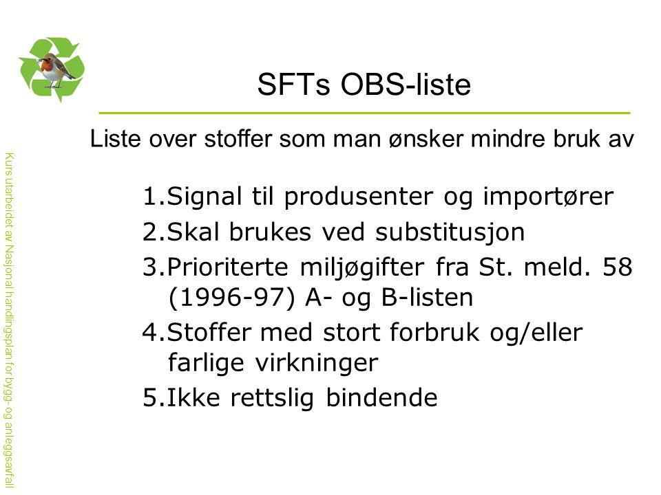 Kurs utarbeidet av Nasjonal handlingsplan for bygg- og anleggsavfall SFTs OBS-liste Liste over stoffer som man ønsker mindre bruk av 1.Signal til produsenter og importører 2.Skal brukes ved substitusjon 3.Prioriterte miljøgifter fra St.