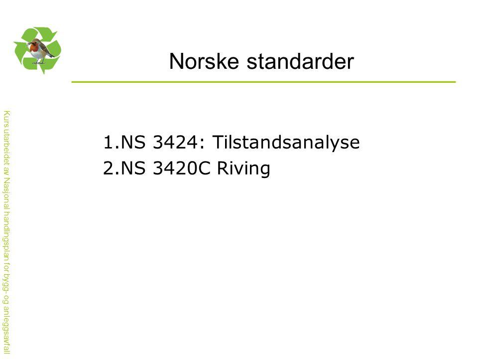 Kurs utarbeidet av Nasjonal handlingsplan for bygg- og anleggsavfall Norske standarder 1.NS 3424: Tilstandsanalyse 2.NS 3420C Riving