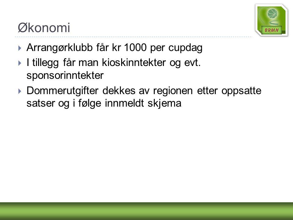 Økonomi  Arrangørklubb får kr 1000 per cupdag  I tillegg får man kioskinntekter og evt. sponsorinntekter  Dommerutgifter dekkes av regionen etter o