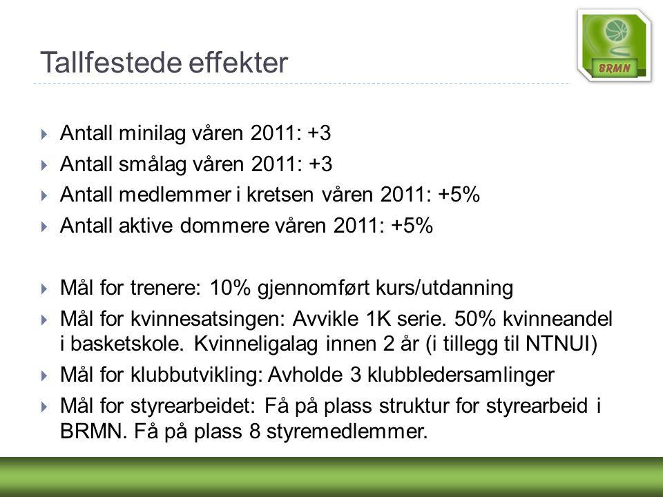Tallfestede effekter  Antall minilag våren 2011: +3  Antall smålag våren 2011: +3  Antall medlemmer i kretsen våren 2011: +5%  Antall aktive domme