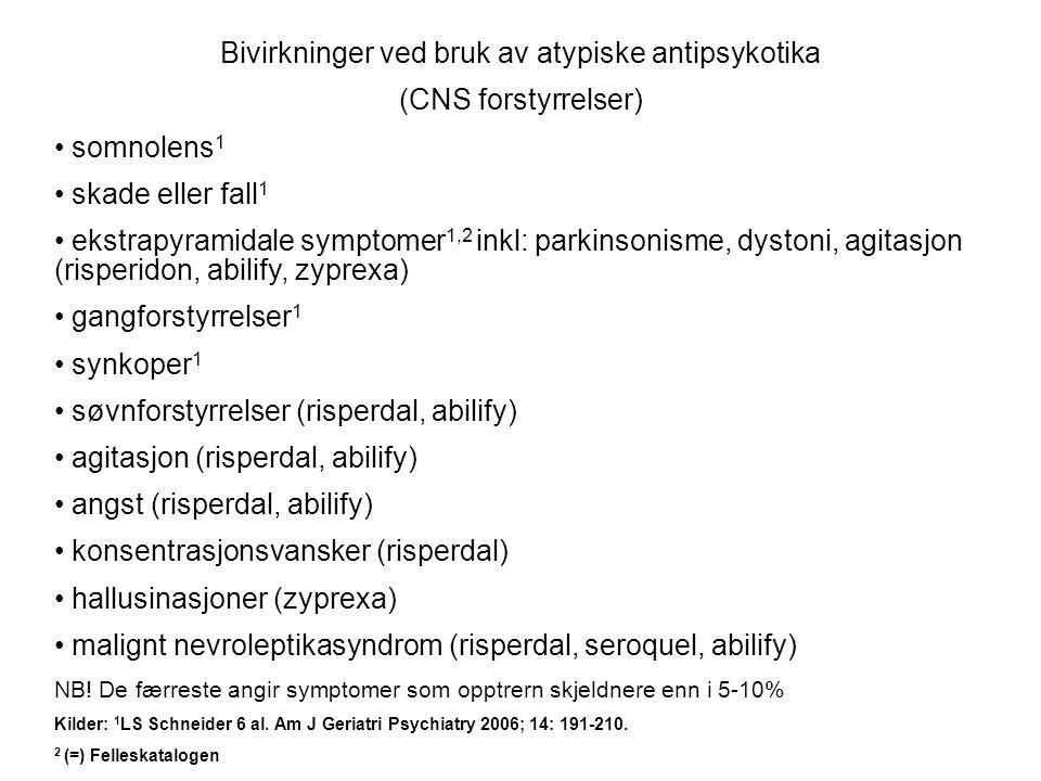 Bivirkninger ved bruk av atypiske antipsykotika (CNS forstyrrelser) • somnolens 1 • skade eller fall 1 • ekstrapyramidale symptomer 1,2 inkl: parkinsonisme, dystoni, agitasjon (risperidon, abilify, zyprexa) • gangforstyrrelser 1 • synkoper 1 • søvnforstyrrelser (risperdal, abilify) • agitasjon (risperdal, abilify) • angst (risperdal, abilify) • konsentrasjonsvansker (risperdal) • hallusinasjoner (zyprexa) • malignt nevroleptikasyndrom (risperdal, seroquel, abilify) NB.
