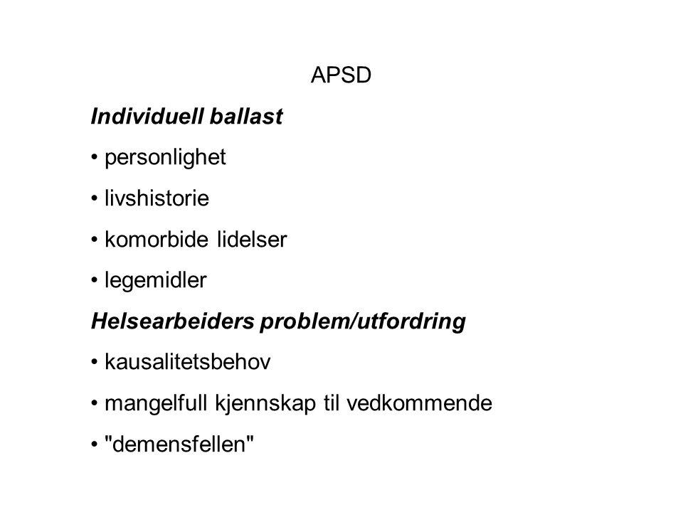 APSD Individuell ballast • personlighet • livshistorie • komorbide lidelser • legemidler Helsearbeiders problem/utfordring • kausalitetsbehov • mangelfull kjennskap til vedkommende • demensfellen