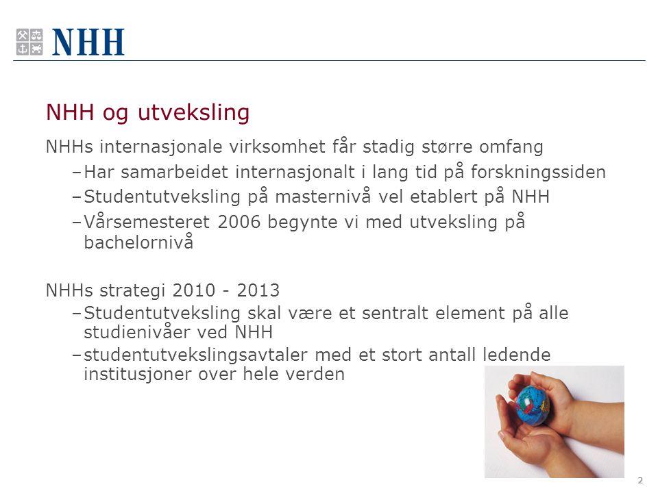 2 NHH og utveksling NHHs internasjonale virksomhet får stadig større omfang –Har samarbeidet internasjonalt i lang tid på forskningssiden –Studentutve