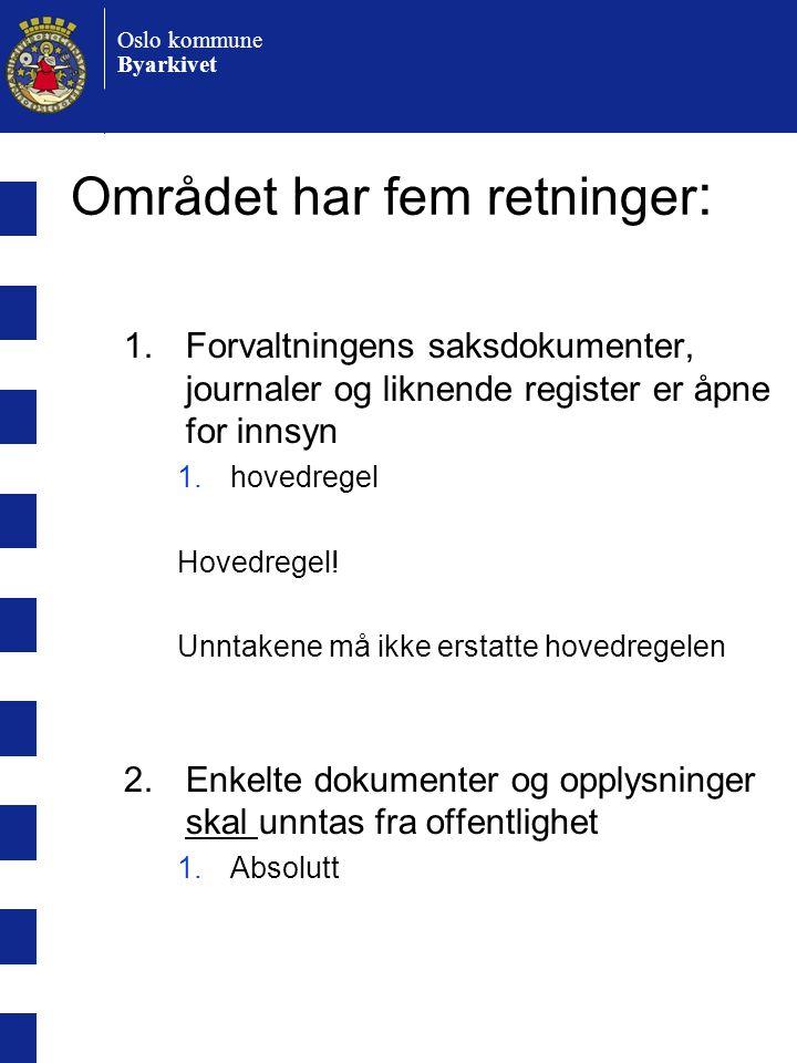 Oslo kommune Byarkivet Området har fem retninger : 1.Forvaltningens saksdokumenter, journaler og liknende register er åpne for innsyn 1.hovedregel Hovedregel.