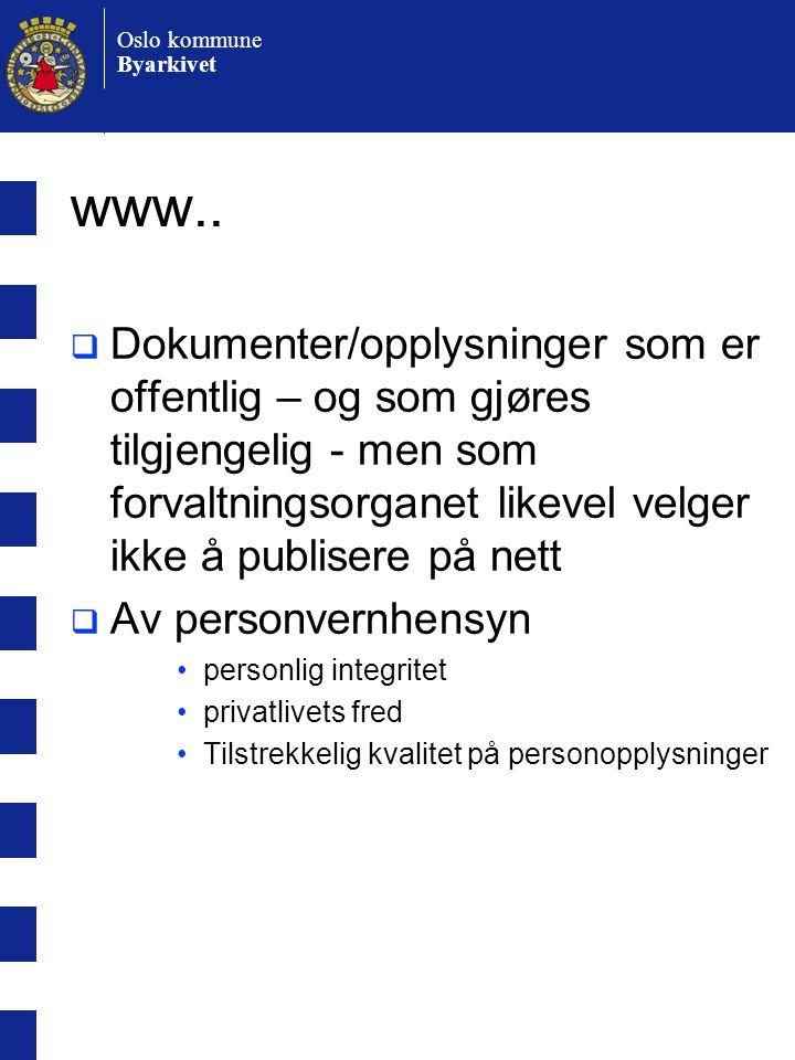 Oslo kommune Byarkivet www..