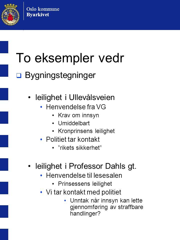 Oslo kommune Byarkivet To eksempler vedr  Bygningstegninger •leilighet i Ullevålsveien •Henvendelse fra VG •Krav om innsyn •Umiddelbart •Kronprinsens leilighet •Politiet tar kontakt • rikets sikkerhet •leilighet i Professor Dahls gt.