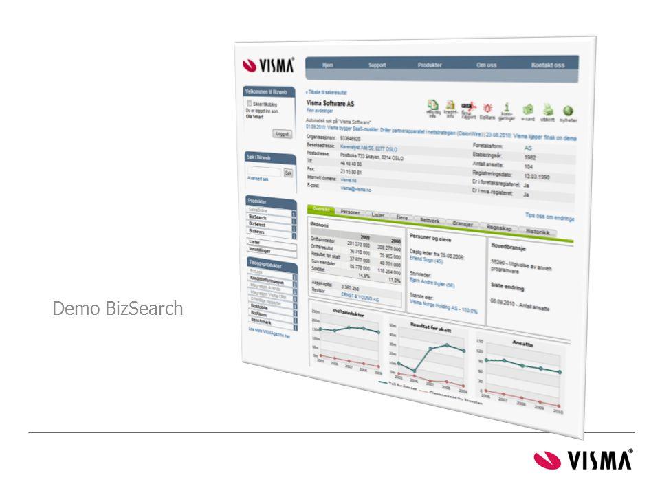 Velg fra listen over selskaper som Bizweb har søkt fram! (dobbeltklikk)