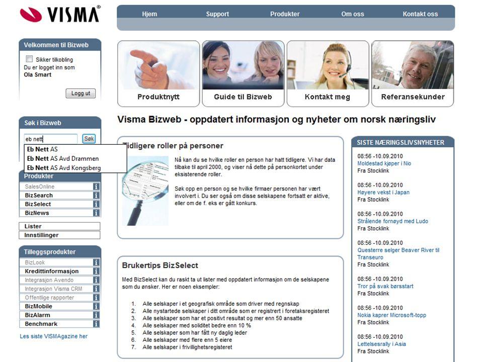 Vestre side viser data fra Bizweb, høyre side data som overføres til Business.