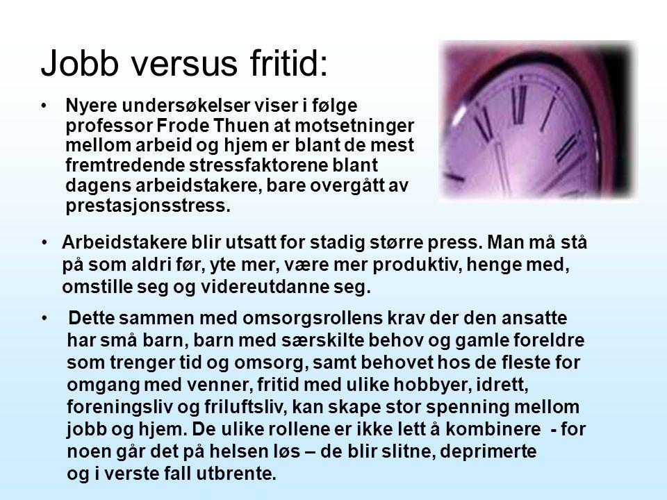 Jobb versus fritid: •Nyere undersøkelser viser i følge professor Frode Thuen at motsetninger mellom arbeid og hjem er blant de mest fremtredende stres