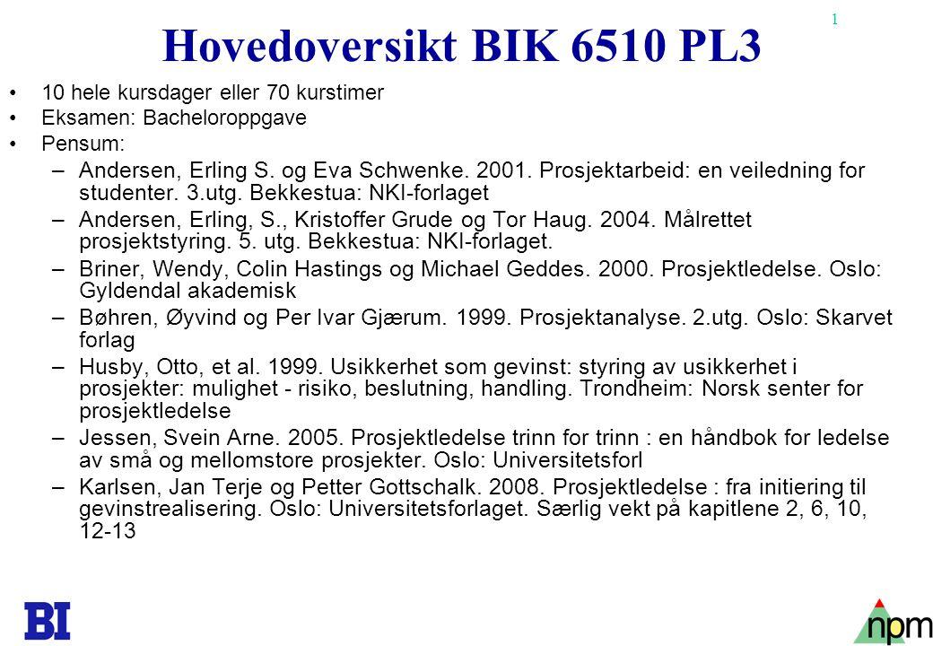 1 Hovedoversikt BIK 6510 PL3 •10 hele kursdager eller 70 kurstimer •Eksamen: Bacheloroppgave •Pensum: –Andersen, Erling S. og Eva Schwenke. 2001. Pros
