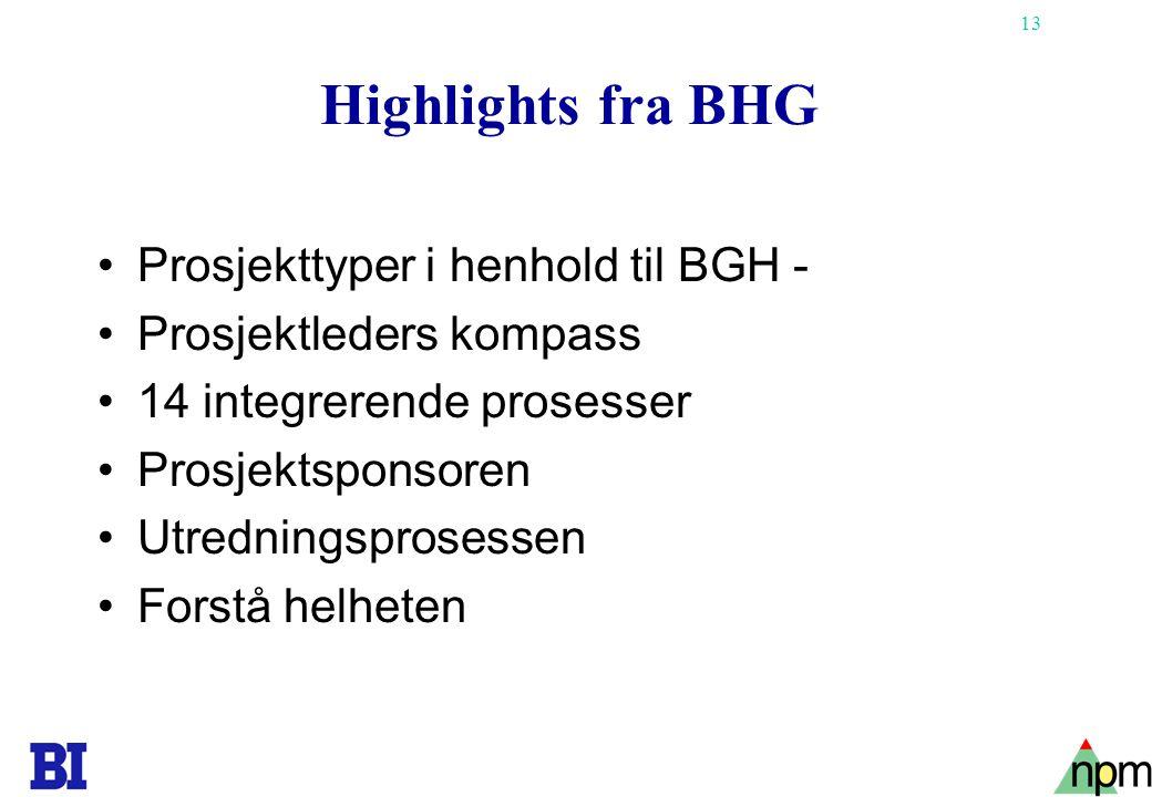13 Highlights fra BHG •Prosjekttyper i henhold til BGH - •Prosjektleders kompass •14 integrerende prosesser •Prosjektsponsoren •Utredningsprosessen •F