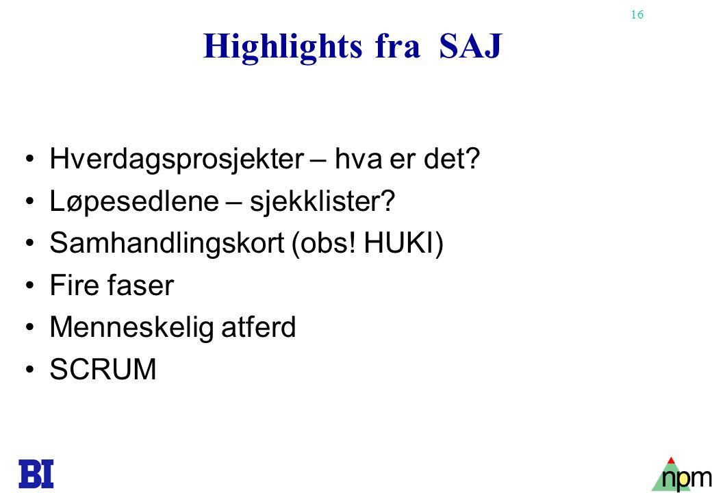 16 Highlights fra SAJ •Hverdagsprosjekter – hva er det? •Løpesedlene – sjekklister? •Samhandlingskort (obs! HUKI) •Fire faser •Menneskelig atferd •SCR