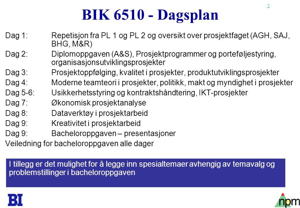 2 BIK 6510 - Dagsplan Dag 1: Repetisjon fra PL 1 og PL 2 og oversikt over prosjektfaget (AGH, SAJ, BHG, M&R) Dag 2: Diplomoppgaven (A&S), Prosjektprog