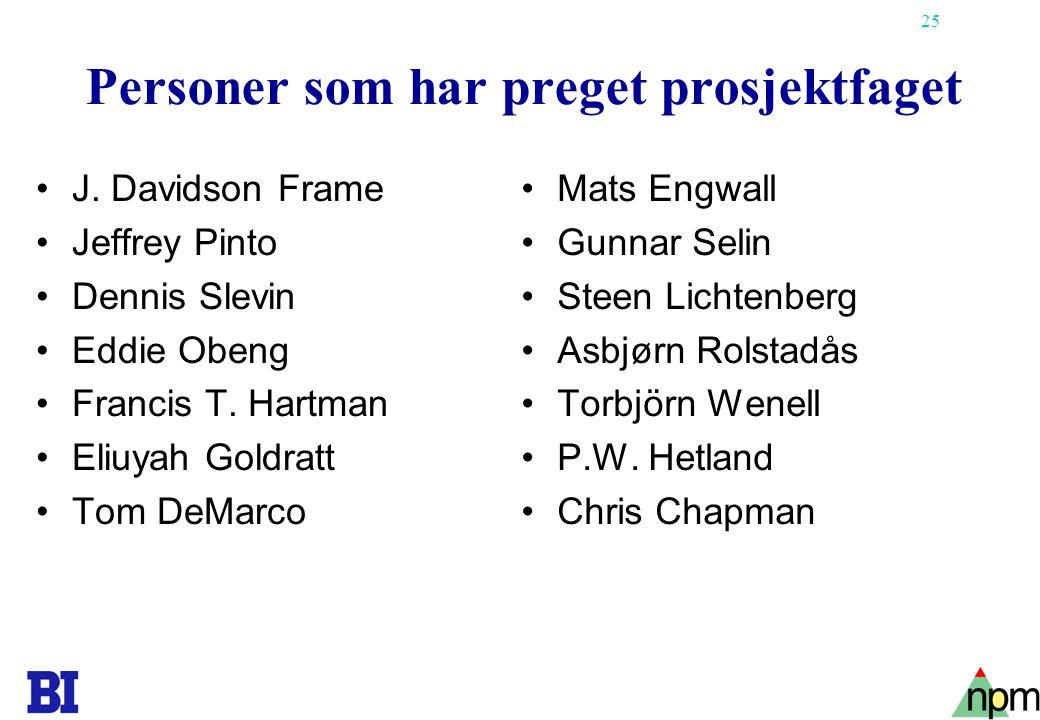 25 Personer som har preget prosjektfaget •J. Davidson Frame •Jeffrey Pinto •Dennis Slevin •Eddie Obeng •Francis T. Hartman •Eliuyah Goldratt •Tom DeMa