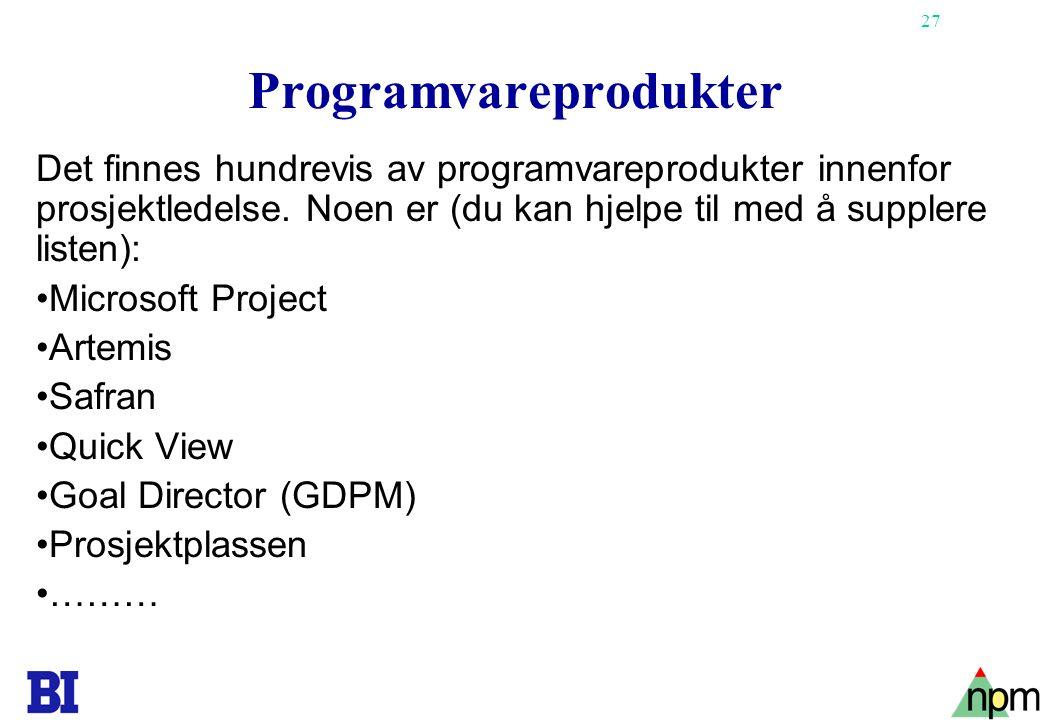 27 Programvareprodukter Det finnes hundrevis av programvareprodukter innenfor prosjektledelse. Noen er (du kan hjelpe til med å supplere listen): •Mic
