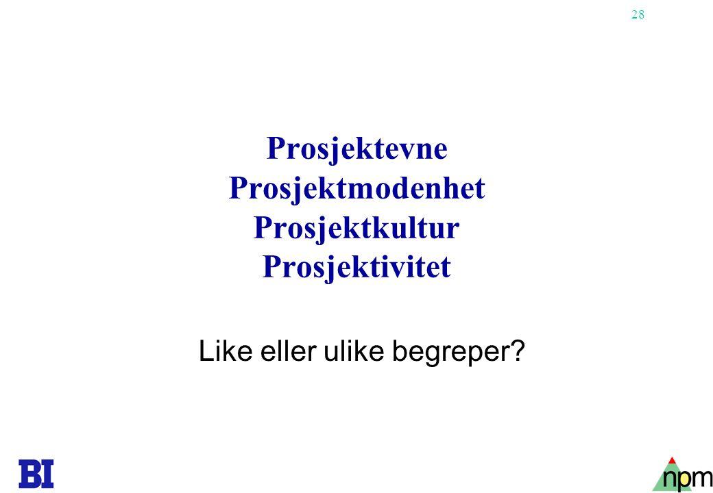 28 Prosjektevne Prosjektmodenhet Prosjektkultur Prosjektivitet Like eller ulike begreper?