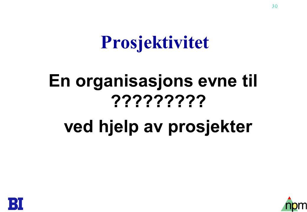 30 Prosjektivitet En organisasjons evne til ????????? ved hjelp av prosjekter